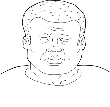 Outline cartoon of African man with eyes closed