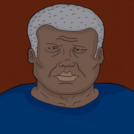 Serious frowning mature Black man in blue Ilustração