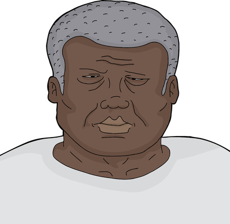 miserable: Tired frowning single African man on isolated background
