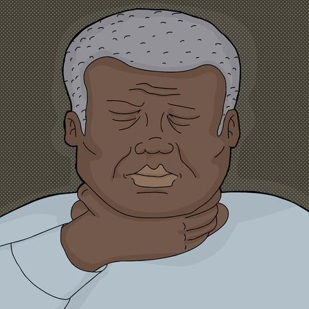 geschlossene augen: Kranker Mann mit geschlossenen Augen halten Kehle