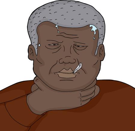 vuxen: Senior vuxen man med infektion och termometer