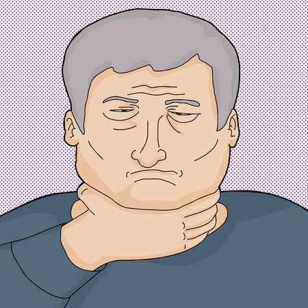 Sad Caucasian senior man holding his neck