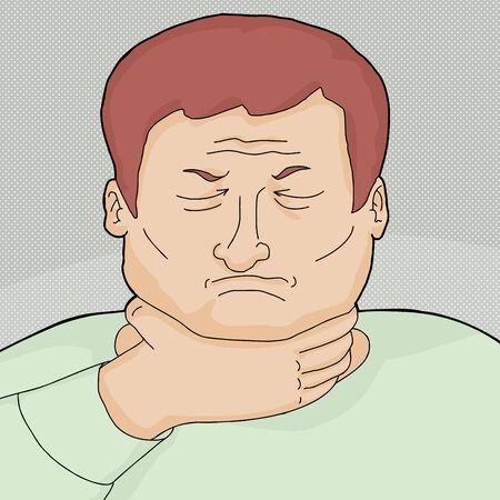 Rouge tête l'homme européen avec des maux de gorge