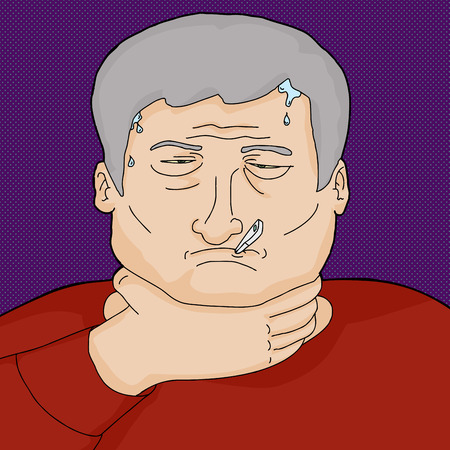 infection: Man with infection holding throat and sweating Illustration