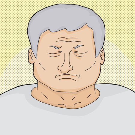 Dying man with eyes closed over halftone background