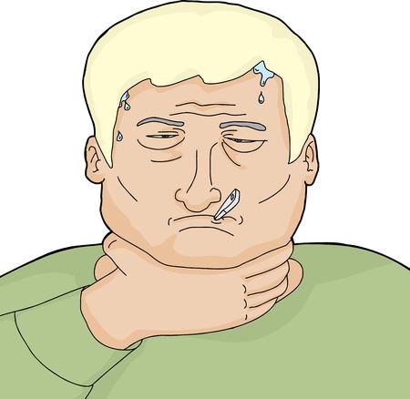 s�ntomas: Cartoon hombre rubio enfermo con s�ntomas de gripe