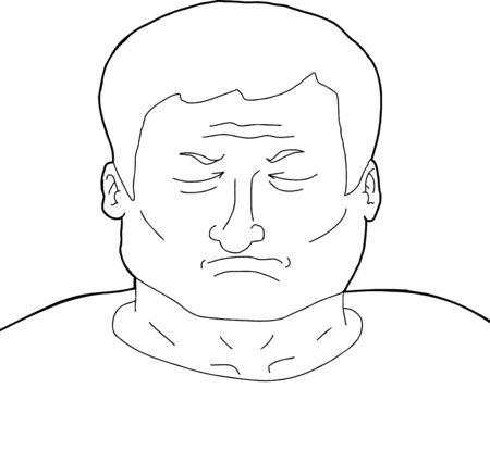geschlossene augen: Cartoon Umriss erwachsenen Mann mit geschlossenen Augen