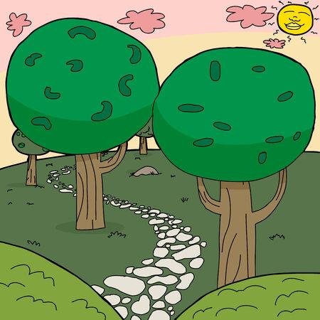 Empty stone path winding through cartoon forest background