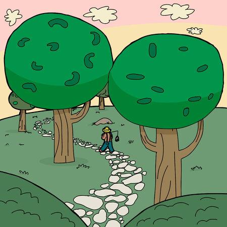 piedra laja: Caminar Pescador en camino de piedra a trav�s del bosque
