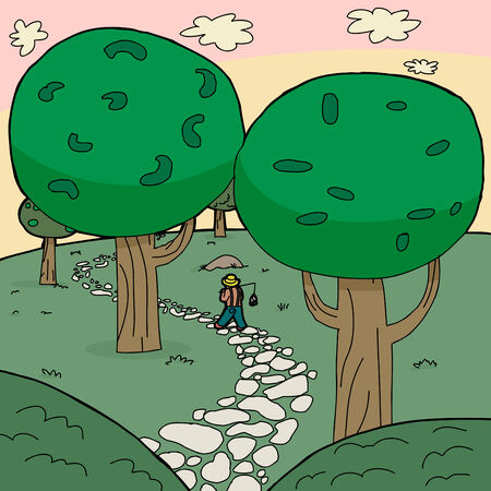 forest path: Fisherman walking on stone path through forest Illustration