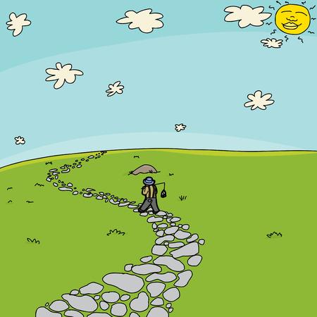 flagstone: Cartoon landscape background with fisherman walking on stone path Illustration