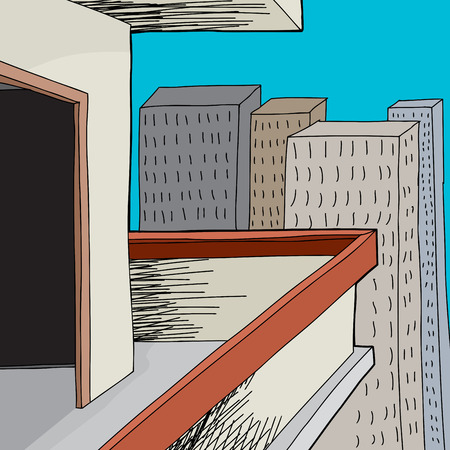 high rise buildings: Urban patio with open door in cartoon city