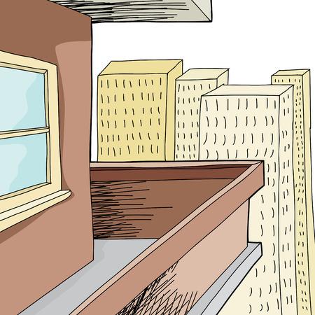 Empty cartoon condominium balcony with tall buildings