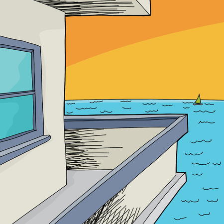ocean view: Apartment balcony with view of ocean and boat