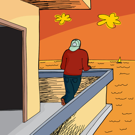 ocean view: View of ocean with man and sunset cartoon Illustration