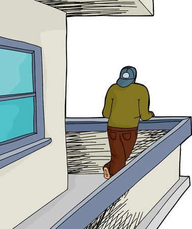 backwards: Man looking from cartoon balcony over white Illustration