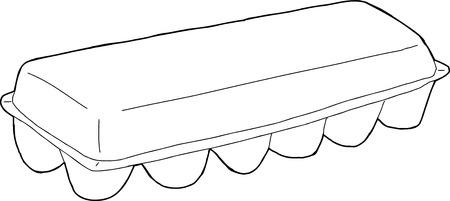 unprinted: Single hand drawn outline egg carton over white Illustration