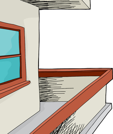 patio deck: Isolated outdoor patio with window and railing Illustration