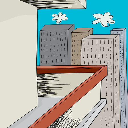 patio deck: Cartoon of balcony with blank wall and tall buildings