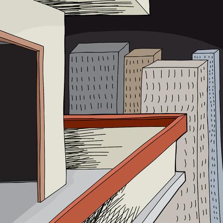 patio deck: Cartoon apartment balcony with open door at night