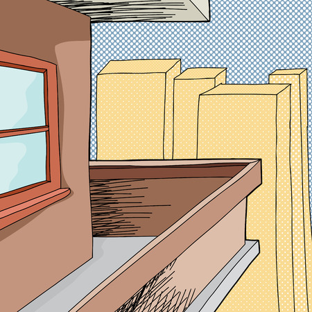 patio deck: Cartoon balcony on apartment with halftone background