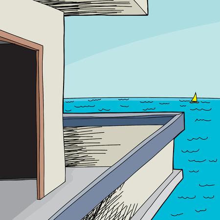 patio deck: Empty beach house with open door on ocean Illustration