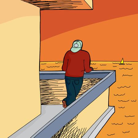 patio deck: Single man with backward hat looking at sea