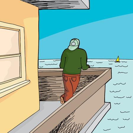 backwards: Man met achteruit hoed te kijken vanuit patio aan de oceaan