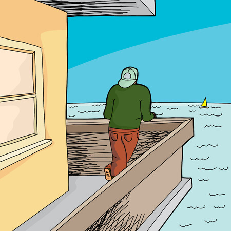 window view: Man with backwards hat looking from patio at ocean Illustration