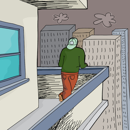 patio deck: Man looking from housing project into city Illustration