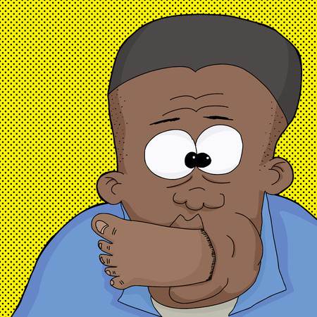 Cartoon of Black man with foot in mouth