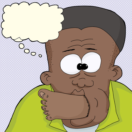 uneasy: Embarrassed Black man with foot in mouth