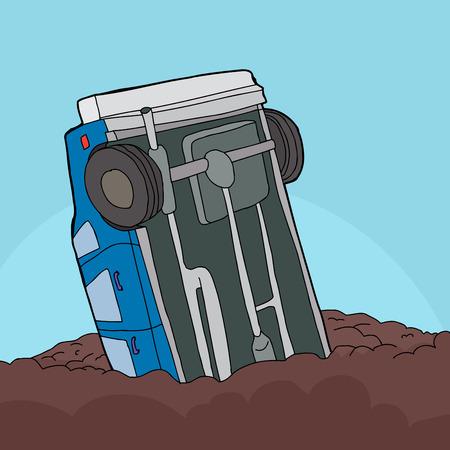 underside: Cartoon of single car stuck in pile of dirt