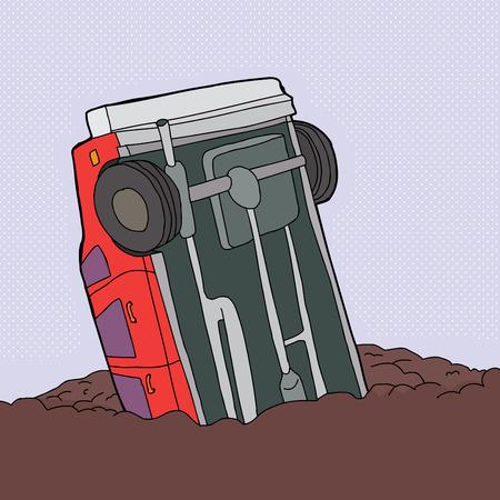 Cartoon of single red car stuck in junk pile Illustration