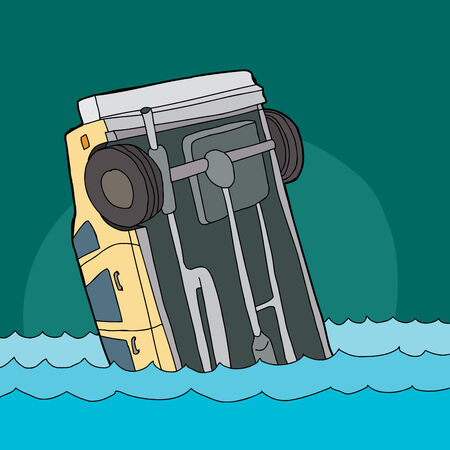 underside: Cartoon of single yellow automobile sinking in water