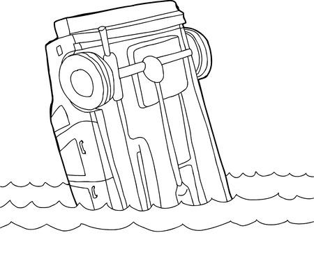 underside: Hand drawn outline cartoon of car stuck in water
