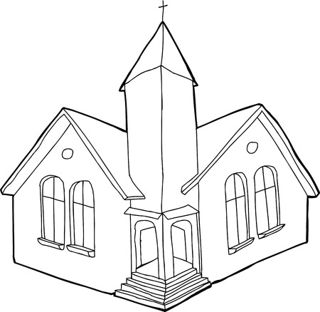 steeple: Single outline Christian church in white and black Illustration