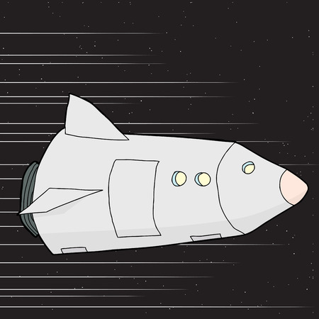 rocketship: Fantasy rocketship flying fast through outer space