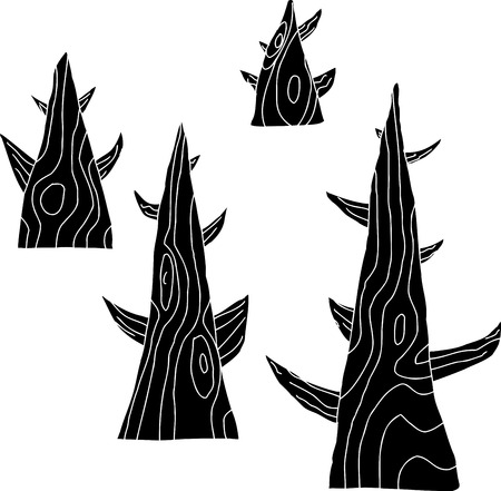 Group of four old trees in black on white Vector