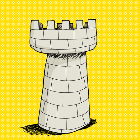 castle tower: Hand drawn stone castle tower over yellow halftone background
