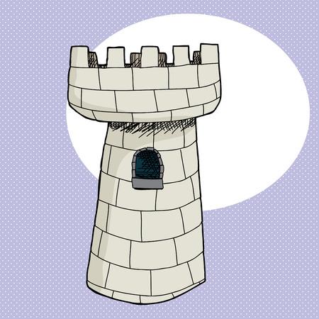 手描き漫画城タワー ウィンドウ  イラスト・ベクター素材