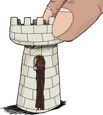 Hispanic Rapunzel character at window in rook peace Vector