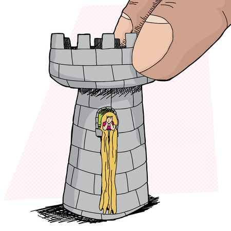 Blond Rapunzel character waiting inside rook piece Vector