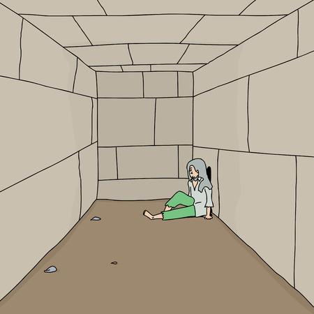 incarceration: Un vagabundo deprimido sentado en el suelo en el pasillo