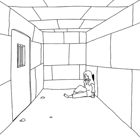 Outline of man sitting in prison cell