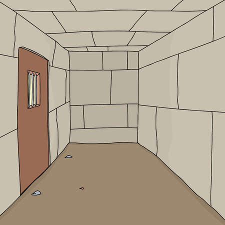 penitentiary: Cartoon background of empty prison cell with door