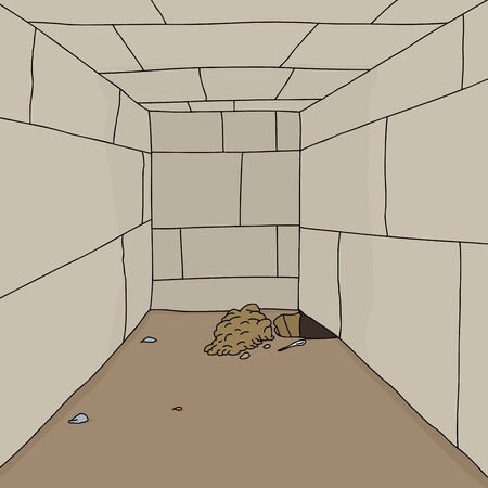 prison break: Pile of dirt and hole in floor of dungeon