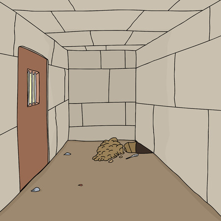 Hole in ground of stone prison cell background Illustration