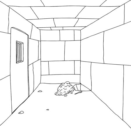 Outline background of prison cell with hole