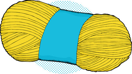 skein: Yellow skein of yarn over halftone background Illustration